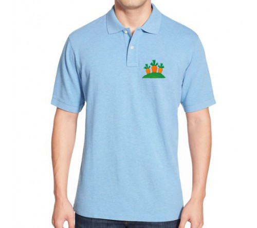 Embroidered Mix Cotton Polo T-Shirt Sky Blue